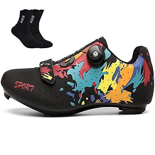 Qisheng Trade - Zapatillas de bicicleta de carretera para hombre con cordón giratorio, nailon/goma transpirable, para bicicleta de carretera y mujer, color negro