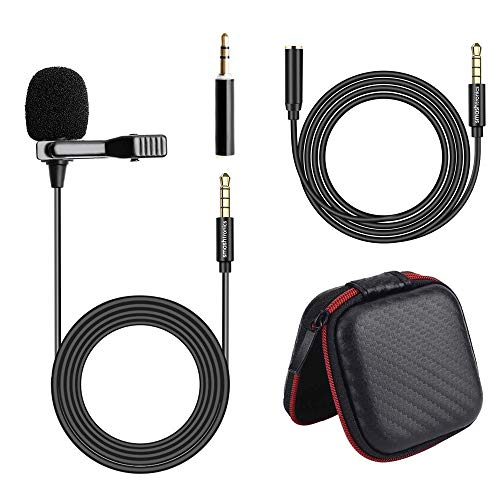 Smashtronics® - Collar Microphone for Recording YouTube/Instagram/Live Streaming for iPhone/Android (SM100 - with Extension Cord + TRRS Adapter + Pouch)