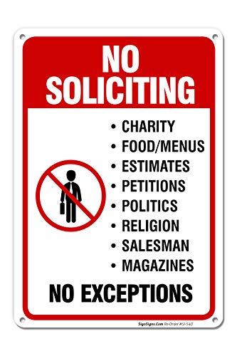 No Soliciting Door Sign, No Soliciting Sign for House, 10x7 Heavy 0.40 Aluminum, UV Protected, Long Lasting Weather/Fade Resistant, Easy Mounting, Indoor/Outdoor Use, Made in USA by SIGO SIGNS