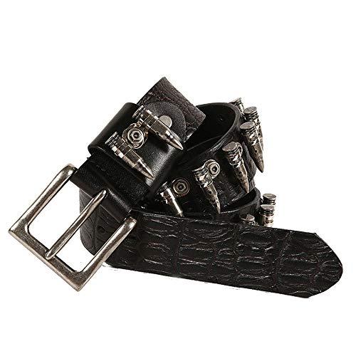 Liuzecai Cinturón de Remache de Diamantes de imitación Cinturón con Incrustaciones de Cuero Punk de Cuero para Hombres (Size : 125cm)