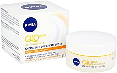 NIVEA Q10 + C Anti-Wrinkle + Energy Day Cream Pack of 3 (3 x 50ml), Energising Anti-Ageing Day Face Cream, Hydrating Formula, Anti-Wrinkle Cream with SPF 15