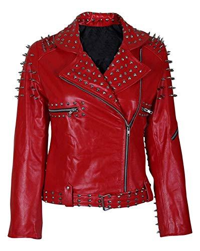 LP-FACON Chaqueta de cuero para mujer con tachuelas y cinturón para motociclista, color rojo