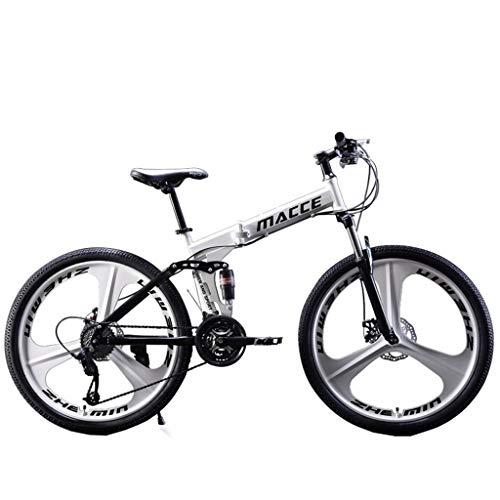 ReooLy 26IN Bicicleta de montaña de Acero al Carbono Bicicleta de 21 velocidades Suspensión Completa MTB