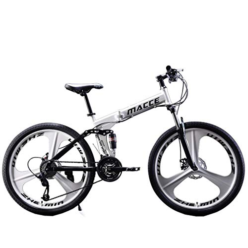 Folding Mountain Bike, Vansee Outroad Mountain Bike for Adult Teens, 24/26 Inch Bike Mountain Bikes 21 Speed Folding Bicycle Full Suspension MTB Bike for Men/Women (White, 26 inch)