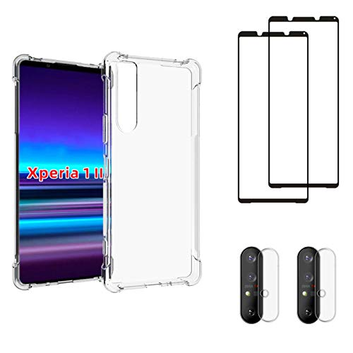protector for xperia for Sony Xperia 1 II Tempered Glass Screen Protection and Camera Lens Protector Compatible, Tempered Glass for Sony Xperia 1 II TPU shockproof Phone Case, [2 Screen Protector+2 Camera Protector+1 shockproof Case ]