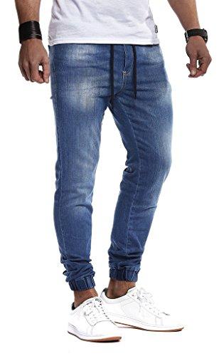 Leif Nelson Herren Jeans Hose Slim Fit Denim Blaue graue Lange Jeanshose für Männer Coole Jungen weiße Stretch Freizeithose Schwarze Cargo Chino Sommer Winter Basic LN9940BL Blau W33/L32