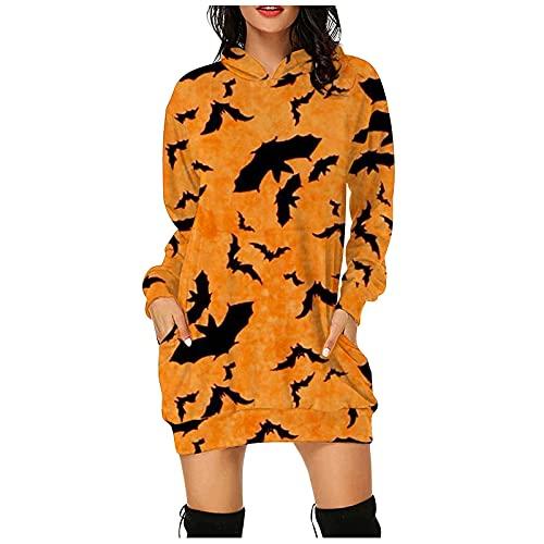 Amphia Damen Hoodie Kleid Pullover Langarm Kleid Halloween Kürbis Katzen Druck Sweatshirts Kapuzenpullover Tops Herbst Mini Kleid