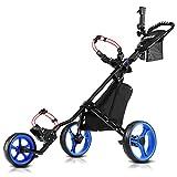 JANUS Golf Push Cart, Golf cart for Golf Clubs, Golf Pull cart for Golf Bag, Golf Push carts 3 Wheel...