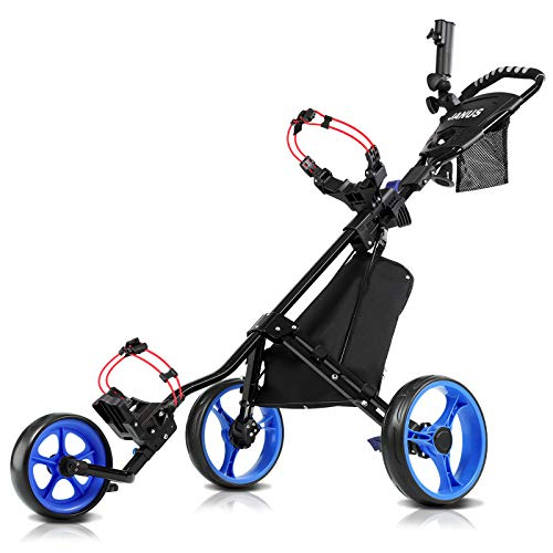 JANUS Golf Push Cart, Golf cart for Golf Clubs, Golf Pull cart for Golf Bag, Golf Push carts 3 Wheel Folding, Golf Accessories for Men Women/Kids Practice and Game