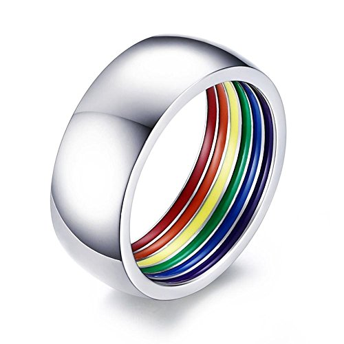 YIKOXI 8mm Stainless Steel Inner Ring Rainbow Enamel Ring Wedding Band Gay Lesbian LGBT Pride Ring,Size 8