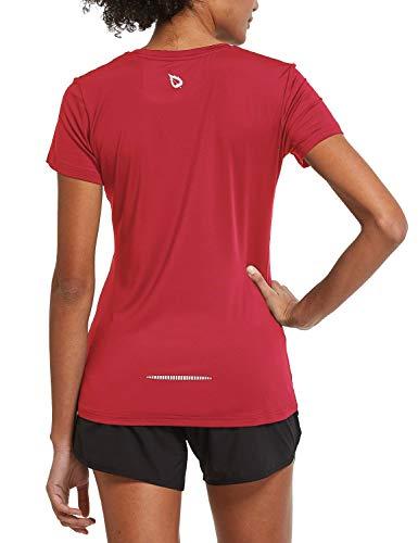 BALEAF Women's Athletic Short-Sleeved Lightweight Running T-Shirts Lightweight Quick Dry Workout Yoga Crewneck Tops Red Size M