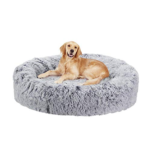 Dog Donut Bed, Fluffy Washable Pet Bed for Large Dogs with Soft Cushion Nesting Cave with Anti-Skip Bottom 90 x90 cm Grey