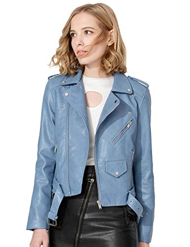 Jhichic Women's Faux Leather Textured Short Moto Jacket Zip-up Slim PU Biker Coat with Pockets (Light Blue, L)