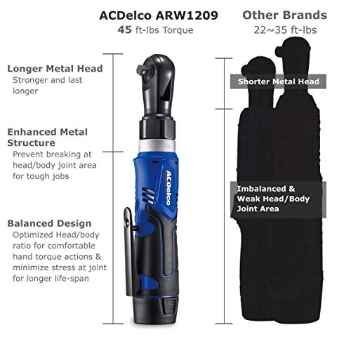 "ACDelco ARW1209P G12 Series 12V Li-ion Cordless 3/8"" 45 ft-lbs. Ratchet Wrench Tool Kit"