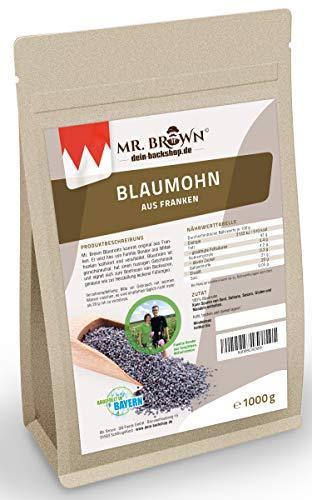 Mr. Brown fränkischer Blaumohn 1 kg, Mohn, Rohkostqualität zum Backen und Kochen (13,95€/kg)