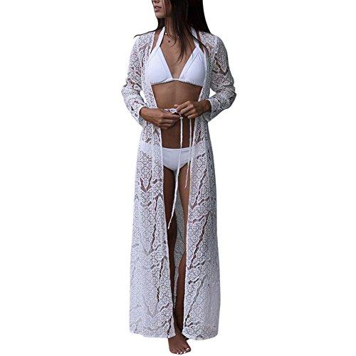 iBaste Mujeres Verano Encaje Kimono Cardigan Ganchillo Largo Vestido Protector Solar Boho Bikini Cover up de Playa