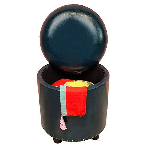 FSYGZJ Taburete otomano con Almacenamiento, Taburete Redondo, Estilo Vintage, tapizado, tocador, Cambio, reposapiés para Zapatos con Tapa (Color: Cyan, Tamaño: 40x42cm)