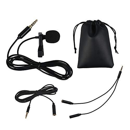 Lavalier Mikrofon für Handy und PC, 2m Mini Omnidirectional Kondensator mit Adapter und Windschutz für Interview, Videokonferenz, Podcast, Diktat usw