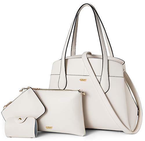 TIBES Damen Handtasche PU Leder Damen Schultertaschen Umhängetasche Geldbörse Kartenhalter 4 Stück Set