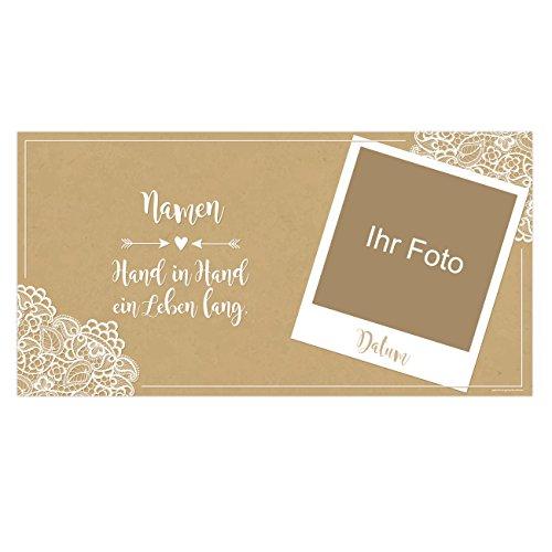 Herz & Heim® Foto-Banner zur Hochzeit mit Namen und Datum - Vintage - Hand in Hand EIN Leben lang. Kunststoff - Wetterfest