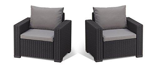 Koll Living 2 Sessel San Diego in anthrazit, passend für Loungeset, Möbelset und Gartenmöbel in offener Rattanoptik, extra Dicke Sitz- und Rückenkissen,