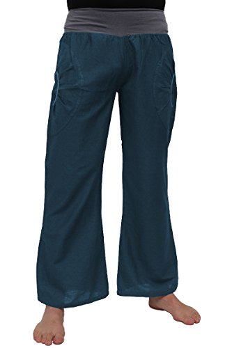 ufash Pantalones de Yoga de algodón, Ropa Deportiva para Hombres, con Cinturilla elástica, L/XL, Petrol
