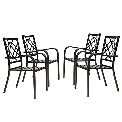 Incbruce 4 Piece Outdoor Dining Chairs, Wrought Iron Patio Bistro Chairs with Armrest for Garden, Poolside, Backyard