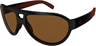 Sports Sunglasses 100% UV Protection, Impact Resistant Sunglasses with Adjustable Nose Pads for Men, Women - Hiline (Black and Red Frame/Brown Lens)