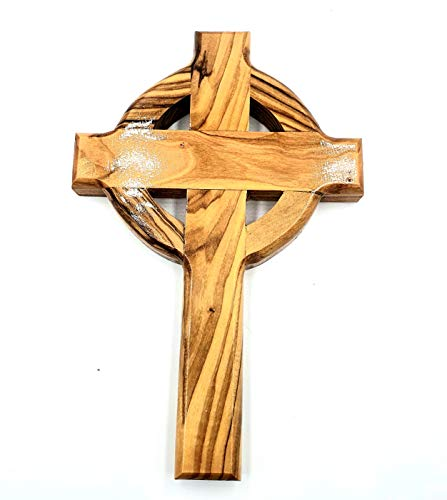 Zuluf Olivewood Wall Hanging Celtic Cross Hand Made Olive Wood & Holy Land Certificate   Celtic Irish St. Patrick's Cross   Unique Gift for Home and Office Wall Décor   16cm / 6.2 Inches CRS031