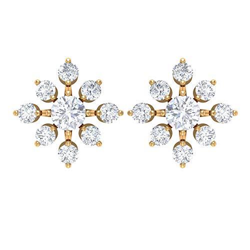 Pendientes de tuerca de diamante floral de 3/4 quilates (calidad AAA), parte trasera de rosca amarillo