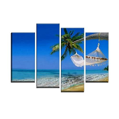 SailorMJY Canvas Wall Art, Foto's Print Op Doek, 4 HD Zee Landschap Decoratieve Schilderij Artiest Woonkamer Slaapbank Wall Achtergrond Schilderij Gratis DIY Combinatie Geen Frame