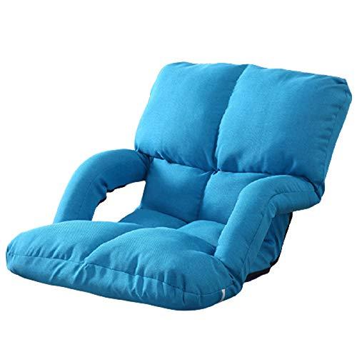 Sofá de Piso con reposabrazos, sofá Perezoso Plegable Multifuncional, Respaldo Ajustable, Cama para Dormir Perezosa, para sofá Cama/Silla/de Reposo/Lectura,Azul