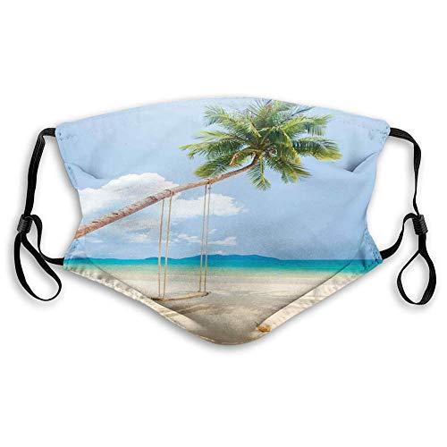 Cómoda máscara impresa, océano, foto de una isla tropical con palmeras de cocos y columpios exóticos, color azul crema, verde y resistente al viento, decoraciones faciales para adultos