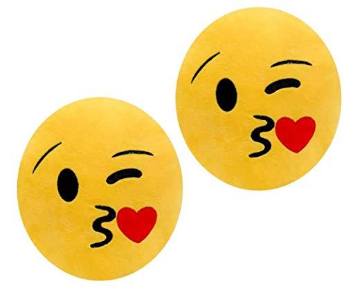 ML Set di 2 cuscini a forma di emoticon, cuscino rotondo con emoticon peluche ricamato con occhi cuore e sorriso, 35 x 33 x 5 cm (bacio)
