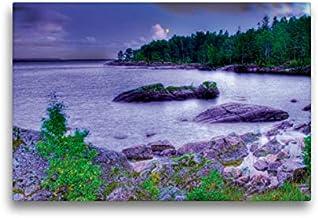 CALVENDO Lienzo de Tela, 45 cm x 30 cm, Horizontal, Sehnsucht Suecia – Gran Mar de Suecia – El Vänern en la Luna Imagen de Pared, Imagen en Bastidor. Calendario Sehnsucht de Suecia Lugares