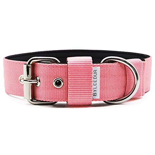 """1.57"""" Heavy Duty Combat Dog Collar with Double Metal D Ring Buckle, for Tactical Military Training, Adjustable, Durable Nylon (M(17''-20''), Pink)"""