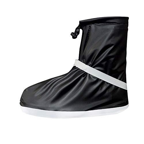 GladiolusA Unisex Überschuh wasserdichte Schuhe Abdeckung, Rutschfester Regenstiefel Wiederverwendbar Für Außen-Sportarten Wandern Fahrradfahren Schwarz 3XL