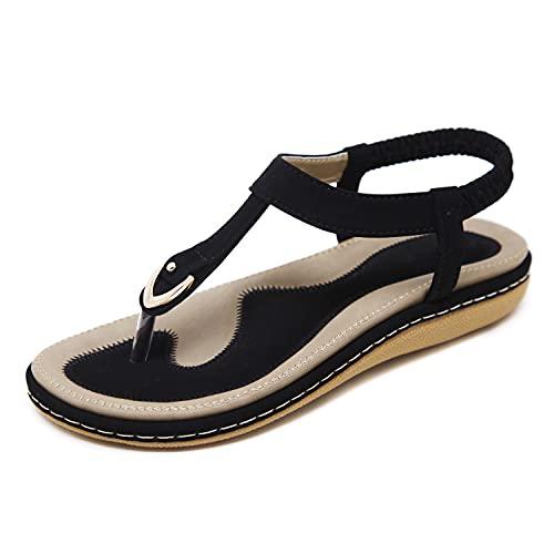 SHIBEVER Women Flats Summer Bohemian Sandals Ankle T-Strap Thong Elastic Flat Shoes Comfortable Flip Flops Sandals Black 9
