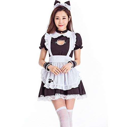 WSJDE Schwarze süße Katze Lolita Maid Kleid Kostüme Cosplay Anzug für Mädchen Frau Kellnerin Maid Party Stage Kostüme XXL schwarz