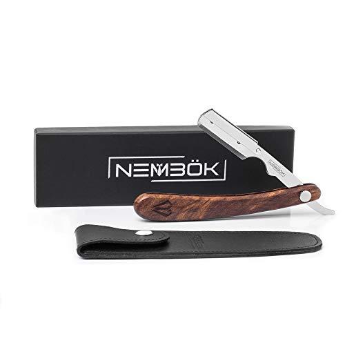 Nembök Klassisches Wechselklingen-Rasiermesser mit Holzgriff in eleganter Geschenkbox + Etui aus Rindsleder + Kompatibel mit jeder Standard-Rasierklinge + Präzise Rasur-Set für Männer (Silber)
