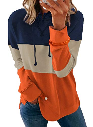 Biucly Womens Color Block Drawstring Hoodie Long Sleeve Hooded Pullover Sweatshirts Hoodies For Women Oversized Soft Fall Clothes,US 16-18(XL),Navy Blue,Khaki,Orange