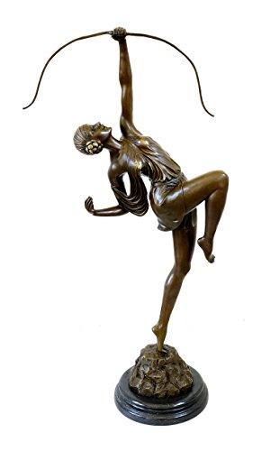 Kunst & Ambiente - Große Art Deco Skulptur - XXL Diana mit Bogen Figur - Pierre le Faguays - Bronzefigur - Antike Skulptur - Bildhauer - Frankreich