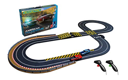 Scalextric American Police Chase AMC Javelin vs Dodge Challenger Police Car 1:32 Slot Car Race Track Set C1405T, Red & Blue