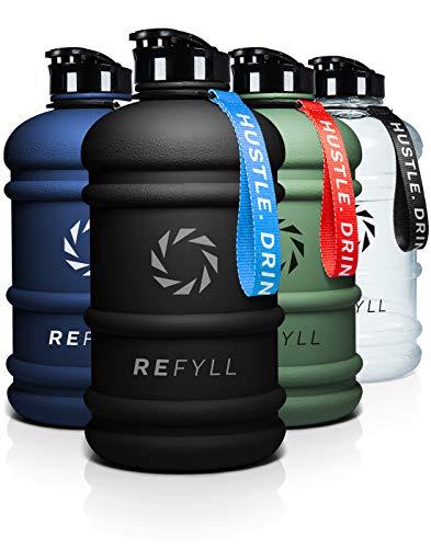 REFYLL Botella deportiva de 2 litros – 'beastFYLL' I robusta botella de agua de 2 litros para gimnasio, fitness y entrenamiento I Premium Water Jug 2200 ml I Botella 2L (Midnight Black)