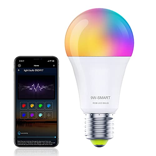 Smart WiFi LED Light Bulb,Work with Alexa&Google Home,9W 800LM,E26 RGB Color Changing Sync Music,WiFi(2.4GHz Only) Dimmable Light Bulbs,Compatible with Alexa, IFTTT(1 Pack)
