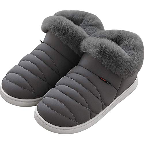 Thick Warm Cotton Slippers Down Thick Bottom Home Wear Snow Boots Men and Women Cotton shoes-42-43_Dark Gray