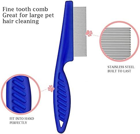 Peigne à Poux pour Chats et Chiens, 4 pièces Peignes Anti-Puces à Dents Fines Outil de Toilettage pour Enlever les marques de déchirure de Cheveux de Flotteur
