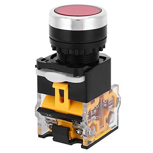 Interruptor de botón pulsador de 5 uds 22mm, interruptor de reinicio automático de tapa redonda 37V-440V sin luz, controles eléctricos industriales(rojo)