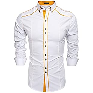 Coofandy Men's Button Down Dress Shirts Casual Slim Fit Shirts Medium White
