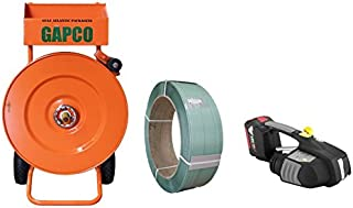 GAPCO Poly Heavy Duty Strapping/Banding Dispenser + 1 Embossed Polyester Strapping Coil 5/8